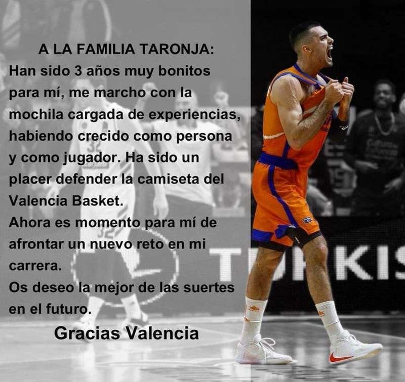Mensaje difundido por Abalde en redes sociales con motivo de su marcha del Valencia Basket. EFE