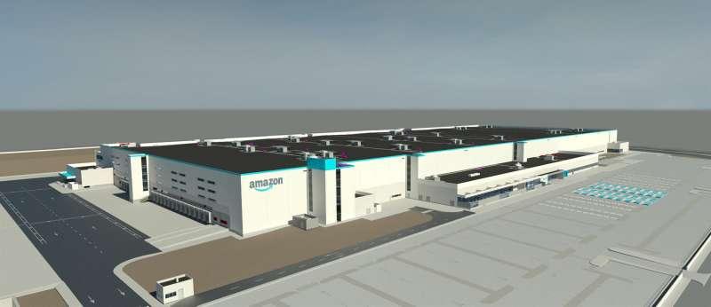 El proyecto de centro de Amazon en Onda, en una imagen compartida por la multinacional.