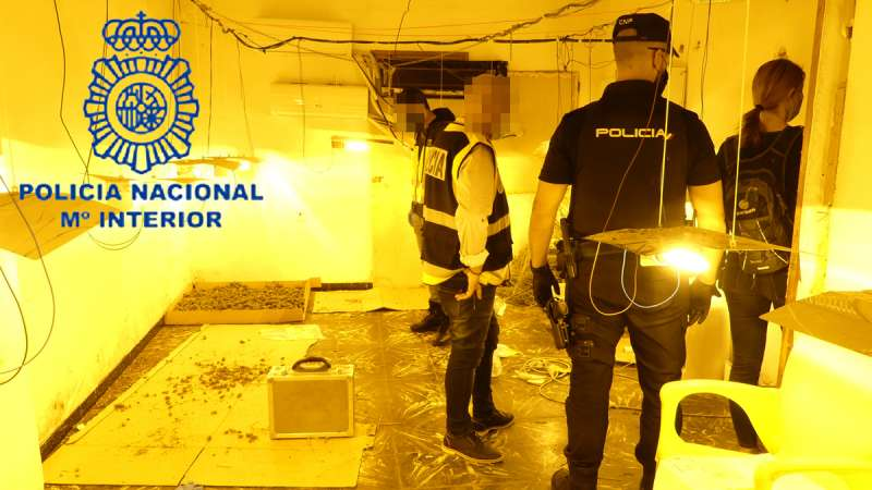 Agentes en la plantación. POLICÍA