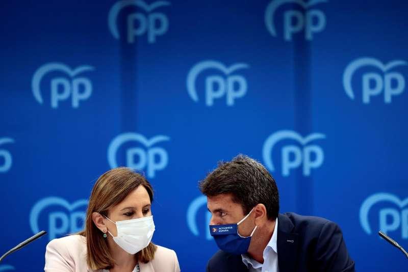 El presidente del PPCV, Carlos Mazón, y la secretaria general del PPCV, María José Català.
