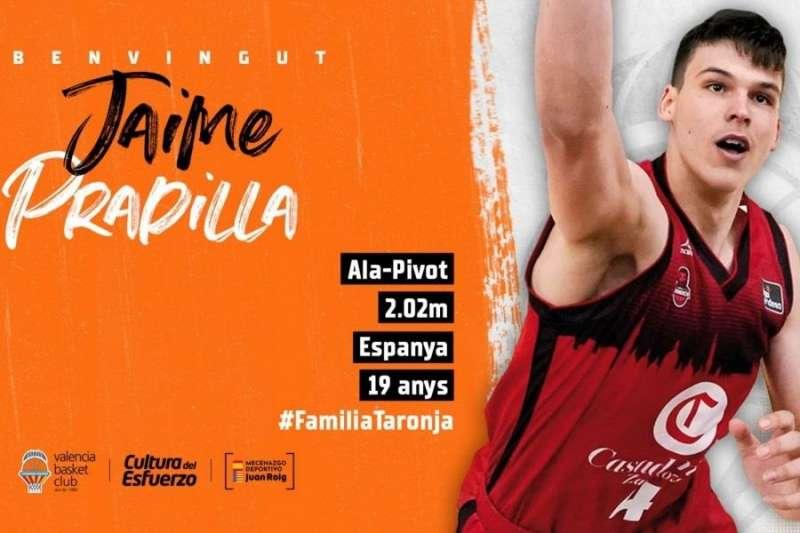 El Valencia Basket incorpora a Jaime Pradilla para la cuatro próximas temporadas. Imagen facilitada por el Valencia Basket. EFE