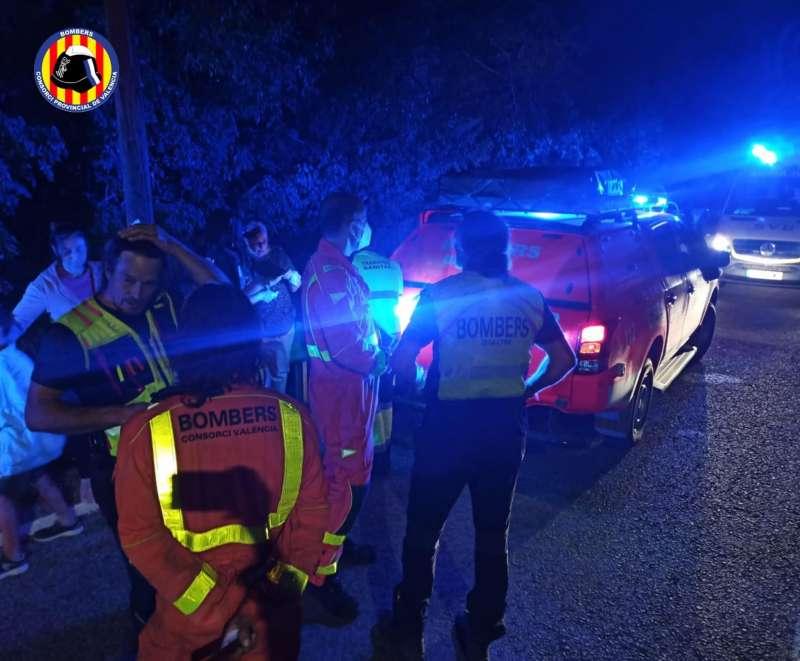 Un momento del rescate, en una imagen difundida por el Consorcio de Bomberos de Valencia.