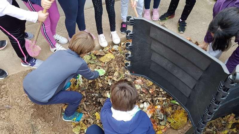 Sesión del proyecto del compostaje en un centro educativo del CVI celebrada el año pasado