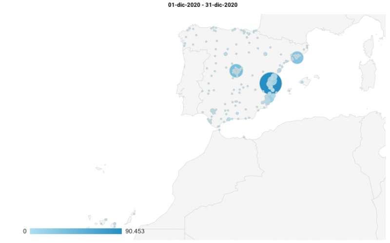 Mayor concentración de lectores en España.