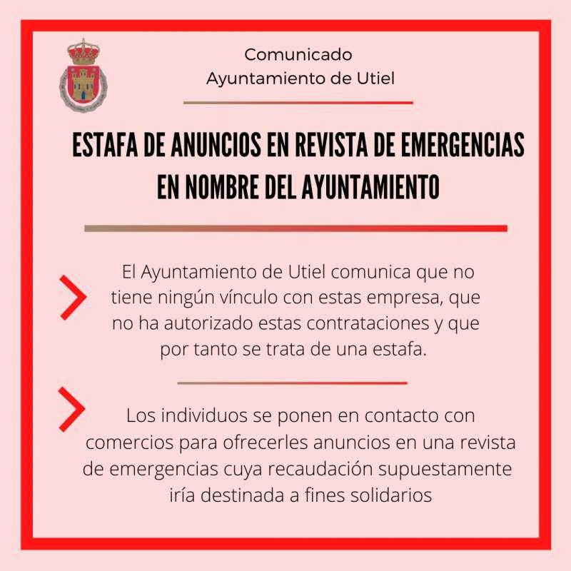 Alerta de estafa sobre anuncios en revista de emergencias por mediación del Ayuntamiento