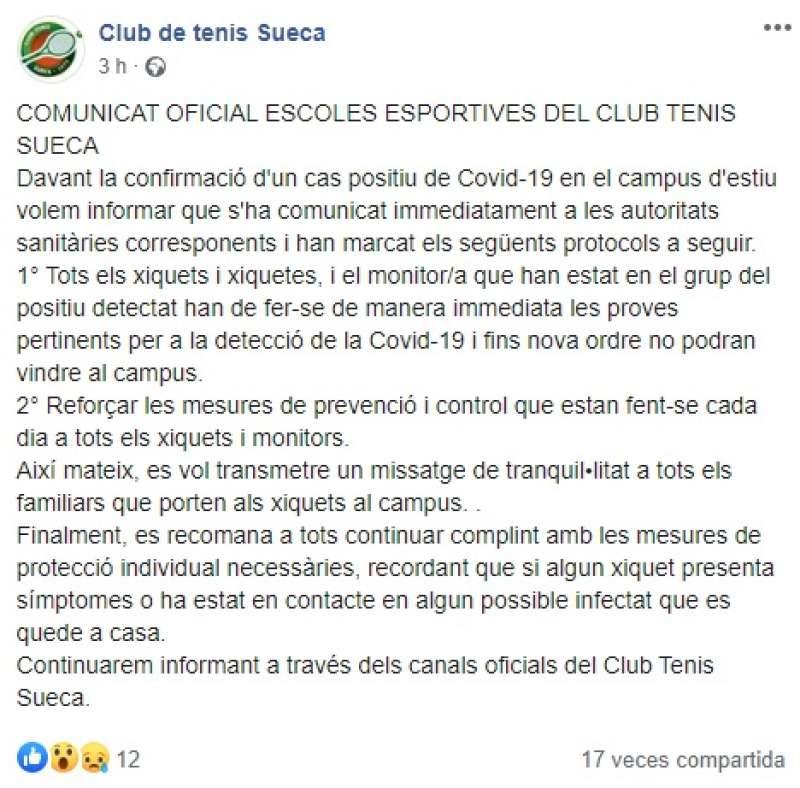 Comunicado del club en Facebook