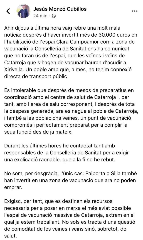 Escrito publicado por Monzó en su muro de facebook como alcalde.