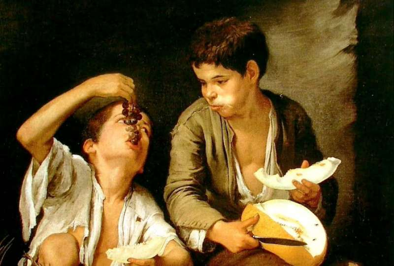 Niños comiendo. Pintura de Murillo