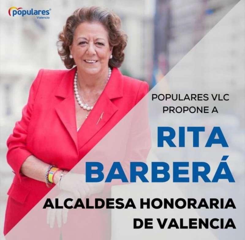 El cartel preparado por el PP de la ciudad de Valencia.