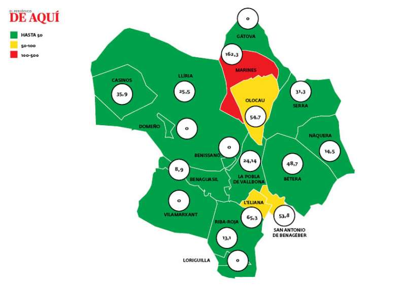 Mapa de incidencia actualizado. EPDA.