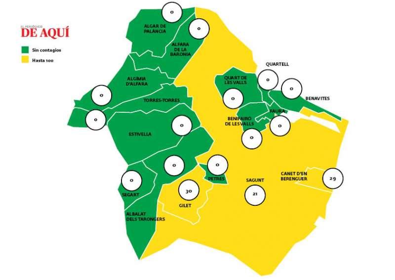 Mapa con la incidencia de la comarca con los datos del 14 de marzo.