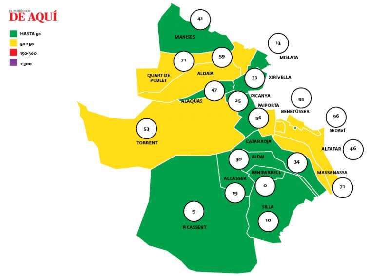 Mapa de incidencia de covid-19 en l