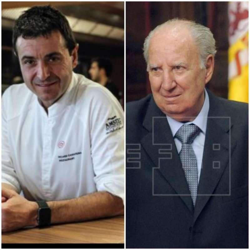 El cocinero Ricard Camarena (i) y el dramaturgo y periodista Juan Gil Albors (d)