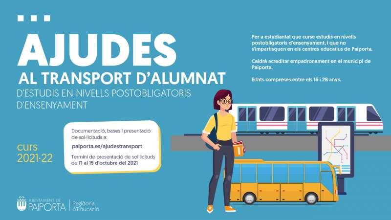 Banner de les ajudes al transport de jove estudiantat en Paiporta.