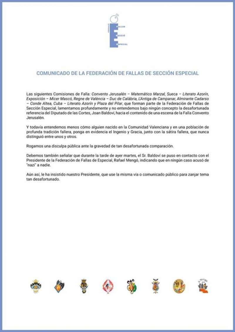Comunicado de la Federación de Fallas de Especial. EPDA