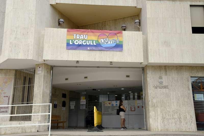 Pancarta en el Ayuntamiento