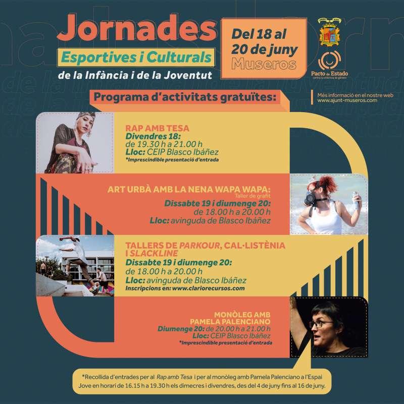 Cartel de las jornadas culturales y deportivas organizadas por el Ayuntamiento de Museros.