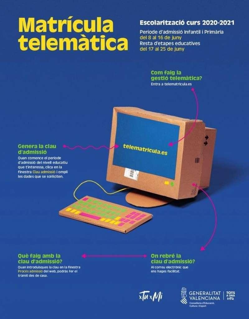 Campaña de Educació sobre la telematricula.es difundida en redes sociales.