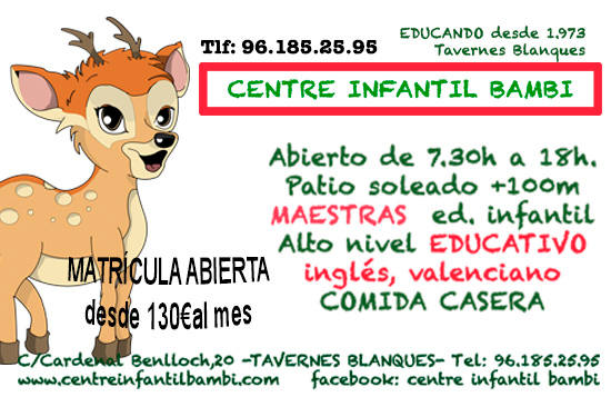 Centro de Educacion Infantil Bambi esta en Tavernes Blanques.