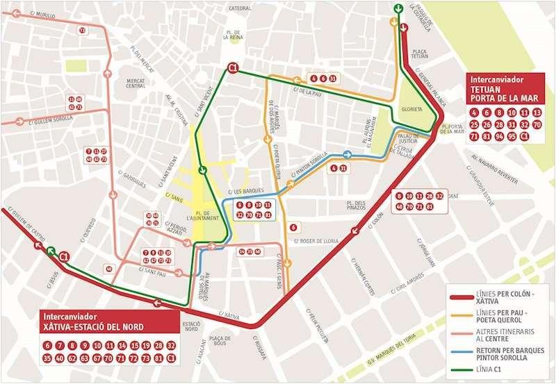 Calle Colón, sólo buses. EPDA