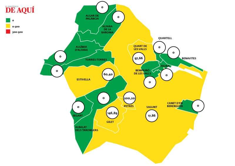 Mapa de incidencia acumulada por municipios en el Camp de Morvedre según los últimos datos publicados por la Conselleria de Sanitat Universal i Salut Pública. / EPDA