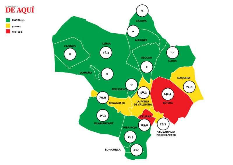 Mapa de coronavirus en el Camp de Túria. EPDA.