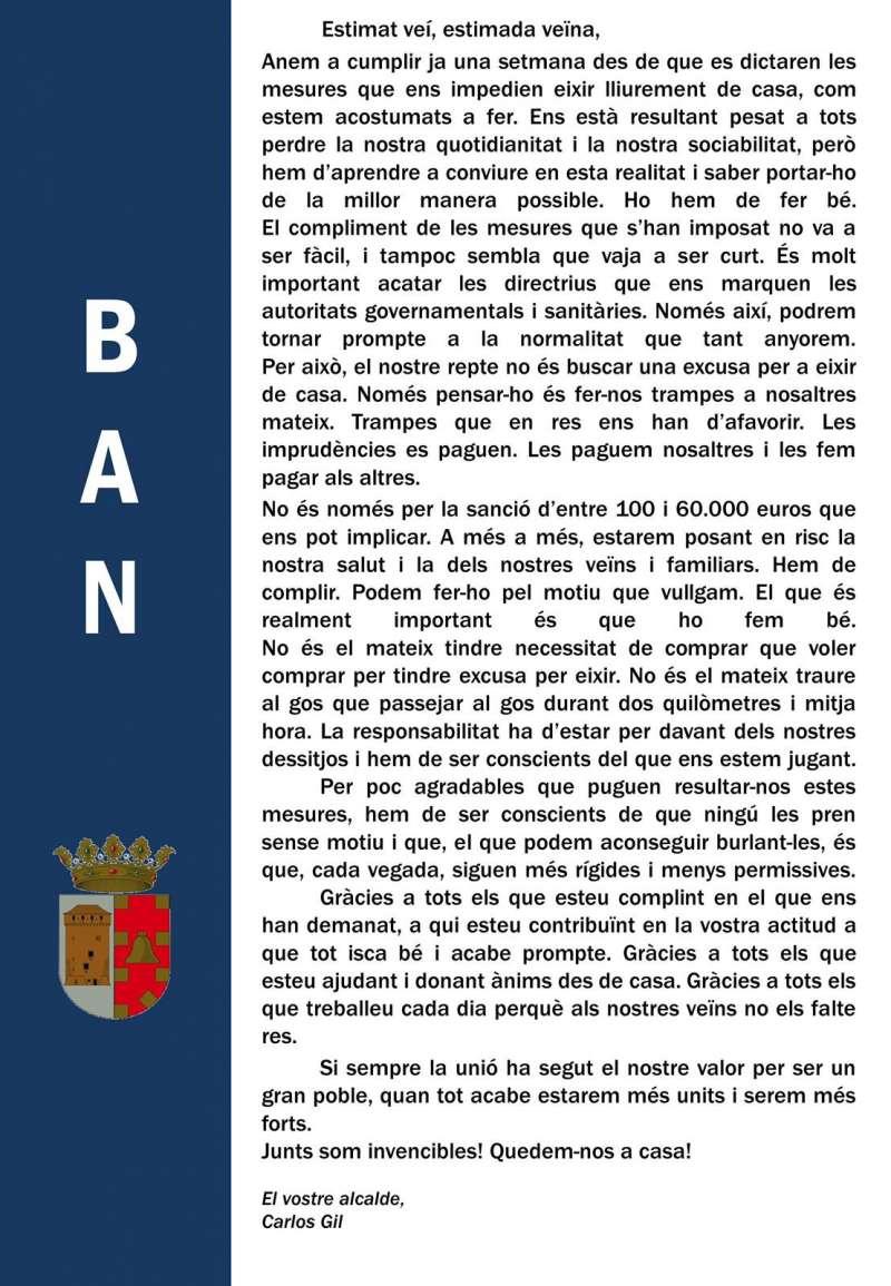 Bando municipal del Ayuntamiento de Benavites / EPDA