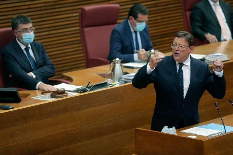 El president de la Generalitat Valenciana, Ximo Puig, durante su intervención en el debate de política general en Les Corts este lunes. EFE/ Kai Försterling/Archivo