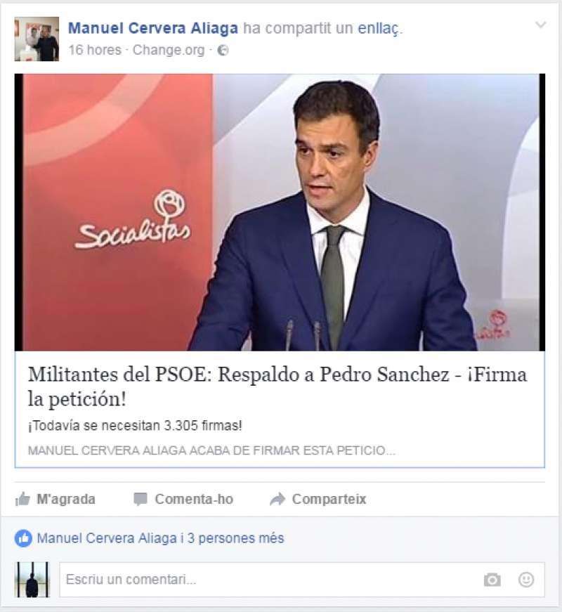 El enlace que ha compartido en Facebook, Manuel Cervera. //EPDA