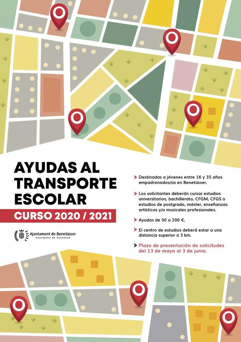 Cartel con las bases de las Ayudas al Transporte Escolar.