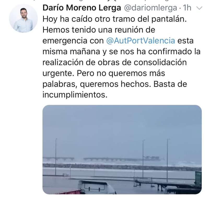 Tuit del alcalde de Sagunt, Darío Moreno. EPDA
