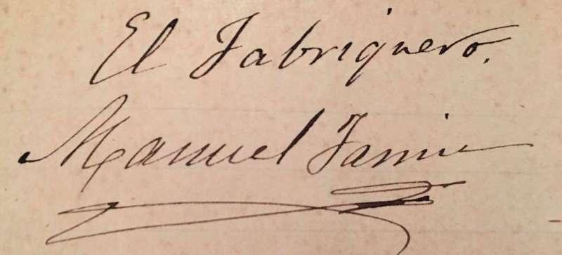 Detalle de la firma de Manuel Jarrín. / JSM