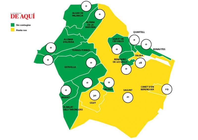 Mapa de incidencia en la comarca con datos del 19 de marzo.