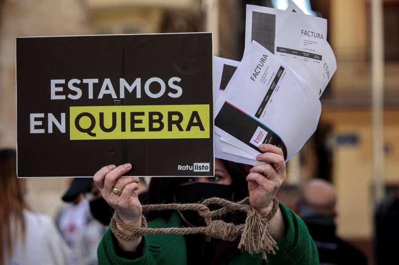 Imagen de archivo de una protesta de empresarios del ocio nocturno en València.