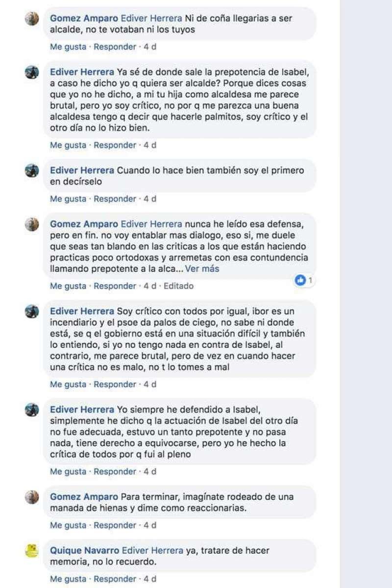 Fragmento de una conversación en facebook aportado por el PP de Paiporta