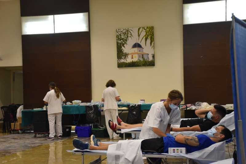 Moments donació de sang a Carlet./EPDA