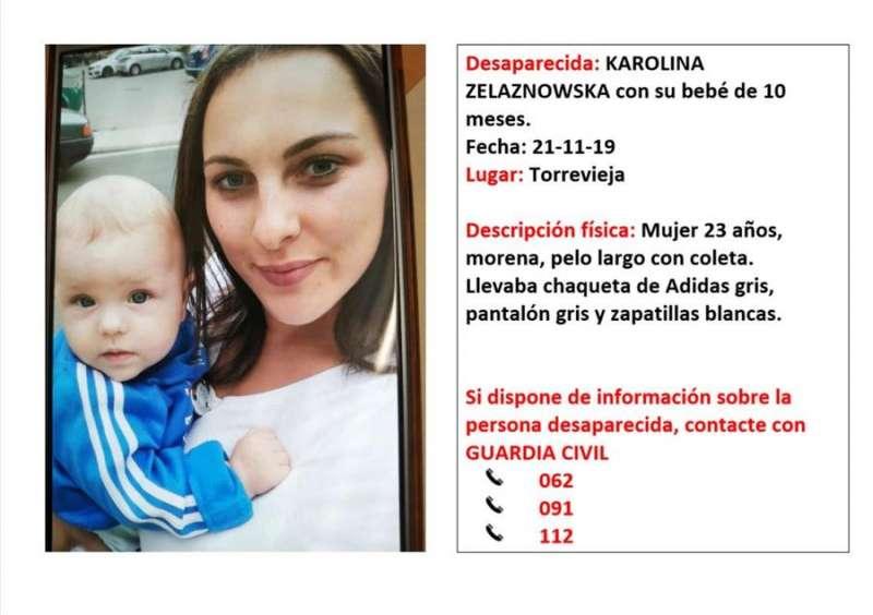 Cartel difundido por el 112 sobre la desaparición de la joven y su bebé. - EFE