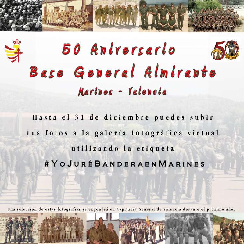 Cartel de los 50 años de la llegada a la Base Militar de Marines (Valencia)