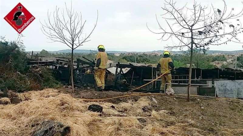 Foto cedida por el consorcio de bomberos del incendio en una cuadra de Orihuela