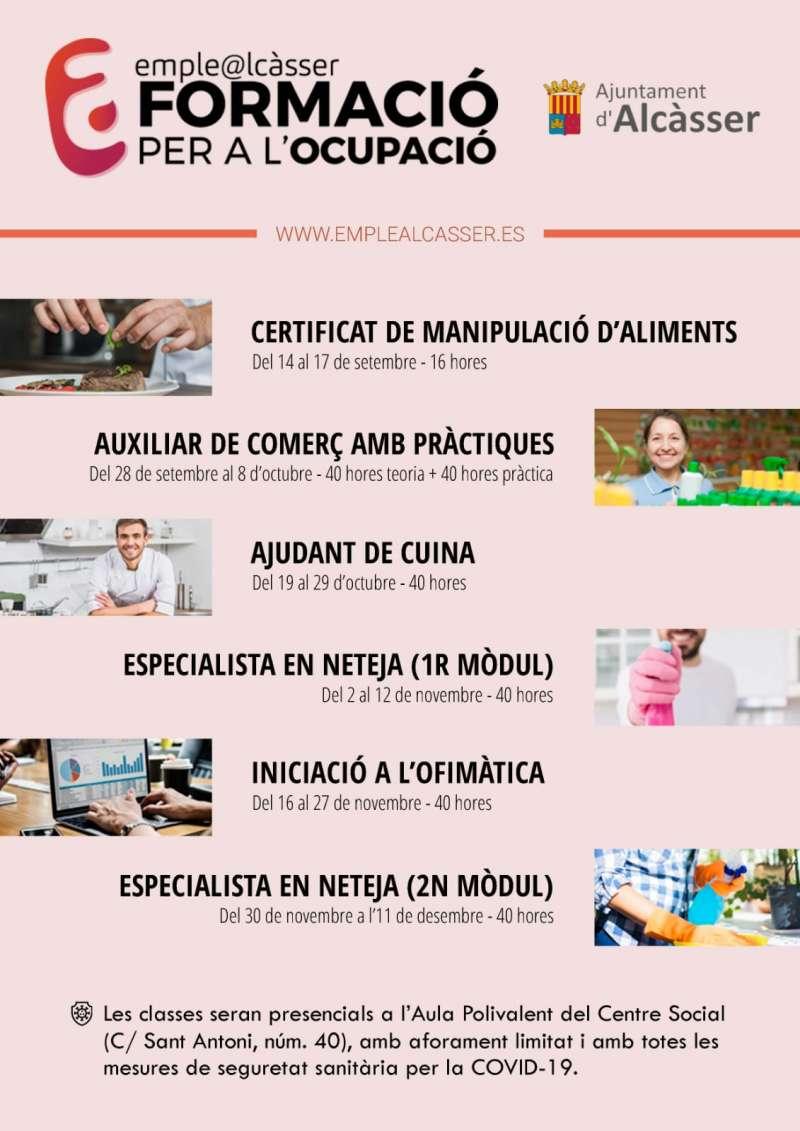 Cartel cursos gratuitos Ayuntamiento Alcàsser./ EPDA