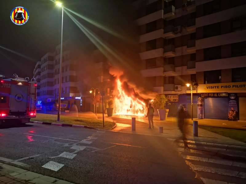 Incendio en la tienda de motos