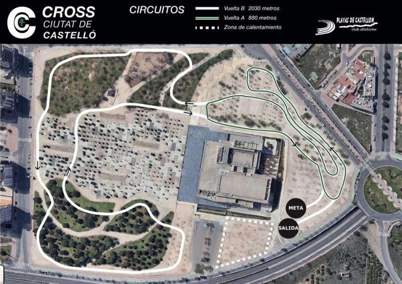 El nuevo circuito de cross, en una imagen compartida en redes sociales por la organizadora, el Playas de Castellón.