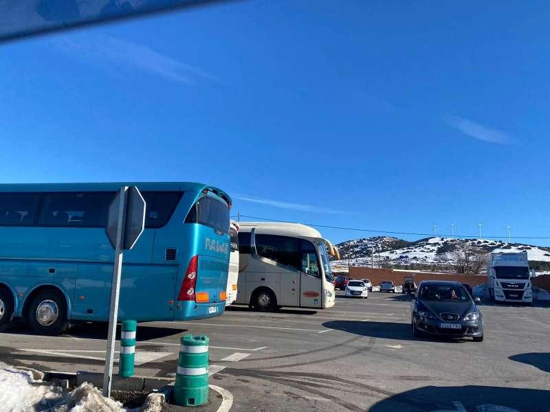 Autobuses en la llamada de la nieve