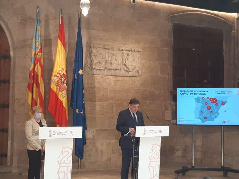 Ximo Puig y Ana Barceló durante la comparecencia de este jueves