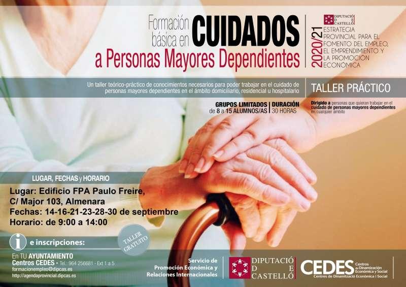 Cartel de cuidados para personas dependientes de Almenara. / EPDA