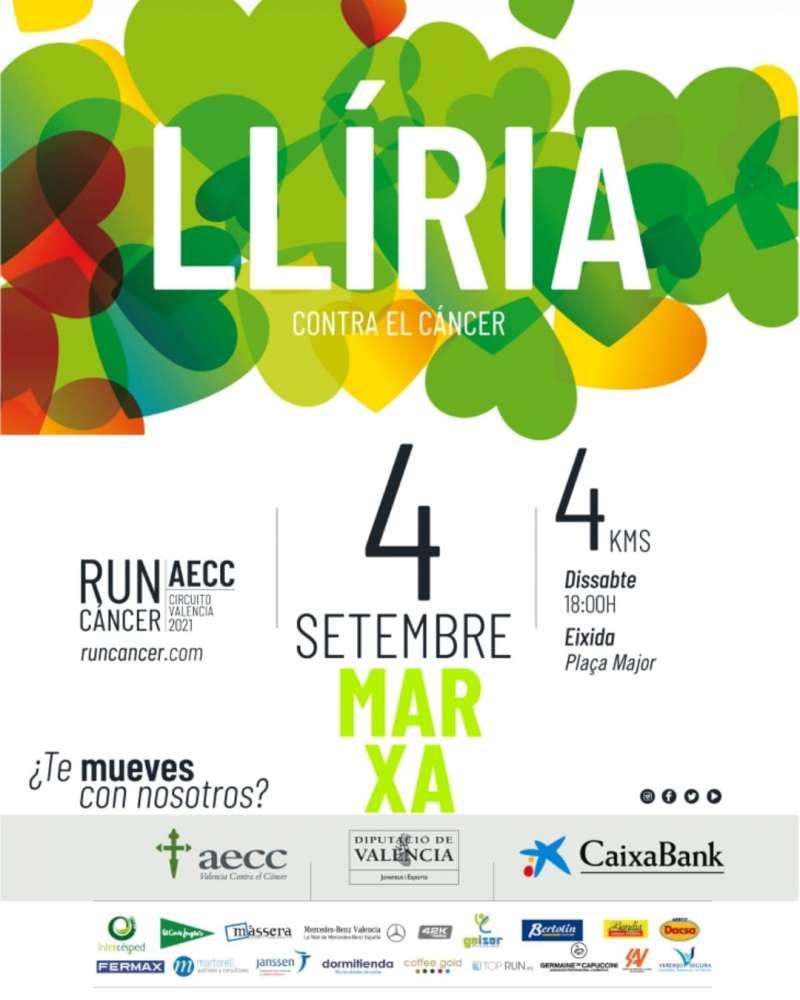 Cartel de la marcha solidaria del circuito RunCáncer en Llíria.