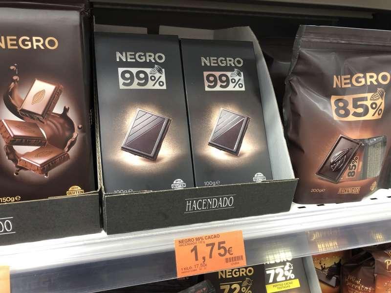 El nuevo Chocolate Negro 99% Cacao de Hacendado, en el lineal de Mercadona