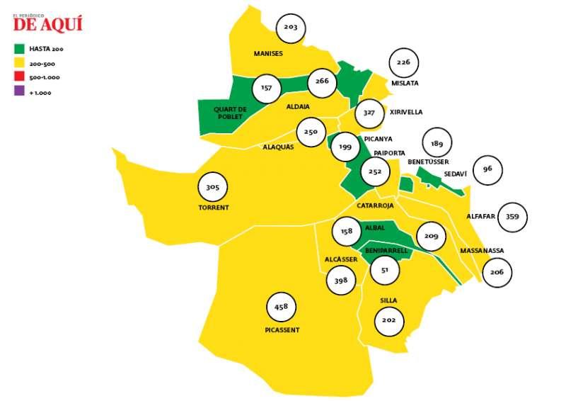 Horta Sud, mapa de incidencia. EPDA