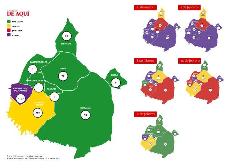 Mapa acumulado de incidencia del coronavirus en la comarca. Elaboración propia. Fuente: CSGV